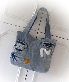 383c533b8e Borsa denim patchwork borsa in jeans borsa a mano di klaptykart Denim Bag,  Denim Jeans