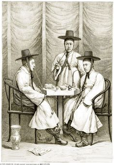 A picture of three Korean scholars wearing black horsehair hats, drawn by an…