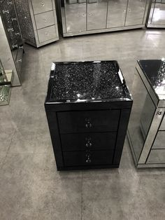 Black Mirror Crush 3 Drawer Bedside - Mirrored furniture - Sparkle Diamond - House of Sparkles Mirrored Bedroom Furniture, Mirrored Nightstand, Black Furniture, Diy Furniture, Kitchen Furniture, Furniture Layout, Furniture Outlet, Discount Furniture, Furniture Stores