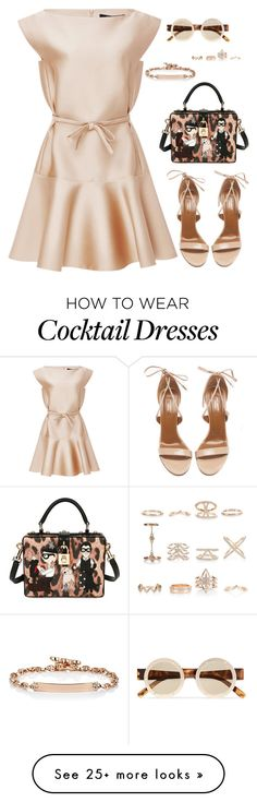 """""""cocktail"""" by stylekaris on Polyvore featuring Paule Ka, Dolce&Gabbana, Aquazzura, Le Specs, Hoorsenbuhs and New Look"""