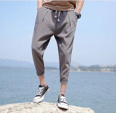 Nine Cropped Pants Flax Male Casual Pants Loose Large Size Men's Nine Pants Summer
