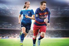 "EA Sports announced that Morgan has landed the cover (along with Lionel Messi) of the upcoming ""FIFA game. For the first time in the history of the EA Sports' video game FIFA, a woman will appear on the cover. Team USA star Alex Morgan will j. Fifa 16 Game, Fifa 17 Ultimate Team, E Magazine, Ea Sports, Alex Morgan, Team Usa, Lionel Messi, Fc Barcelona, Good News"