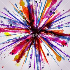 Abstract Hand Drawn Watercolor Background Firework Stock Image