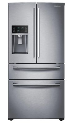 Stock Up on the Good Stuff with the Samsung 28 cu. French Door FridgeThe Samsung French Door Fridge has the space you nee. 4 Door Refrigerator, Stainless Steel Refrigerator, Stainless Steel Appliances, Pig Kitchen, Kitchen Ideas, Camping Fridge, Fridge Decor, Fridge Shelves, Small Fridges