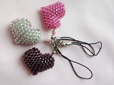 Key ring  pendant set of 3 heart with beads Japanese TOHO silver pink amethyst 3D