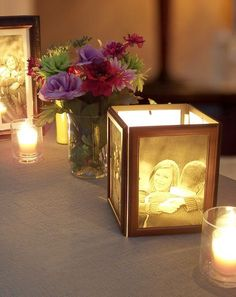 How to Make Photo Centerpieces with Candles - My Wedding Reception Ideas | Blog #howtomakeweddingcandles