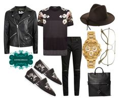 """""""Untitled #544"""" by d3finedimage on Polyvore featuring Victoria Beckham, Yves Saint Laurent, Dolce&Gabbana, Brixton, Topman, ZeroUV, Versace, men's fashion and menswear"""