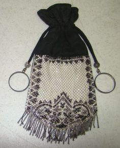 """ART DECO Black & White Mesh & Fabric Drawstring Purse with Metal Fringe, 1920s It measures approx 4"""" x 9"""" with the fringe."""