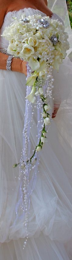 Ivory Bouquet  with Cascading Flowers,Tule and Pearsl