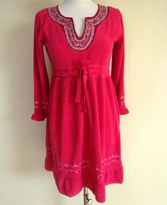 Calf Length Sleeve Tunic Casual Floral Dresses for Women Folk, Tunic, Floral, Casual, Red, Shopping, Beautiful, Clothes, Dresses