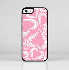 The Pink and White Vector Swirly Heart Pattern Skin-Sert for the Apple iPhone 5c Skin-Sert Case