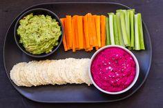 Beetroot Hummus and Guacamole