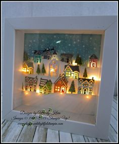 Hometown Greetings Edgelits Hearts Come Home Shadowbox Frame - rose paper treasures christmas lighted shadow box 8 x 8 – ArtofitAll Hearts Come Home for Christmas by kleinsong - Cards and Paper Crafts at SplitcoaststampersA Stampin' Up! Christmas Shadow Boxes, Christmas Frames, Stampin Up Christmas, Noel Christmas, Christmas Cards, Christmas Decorations, White Christmas, Shadow Box Kunst, Shadow Box Art