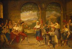 Dietrich Wilhelm Lindau A Saltarello being danced in a Roman osteria, 1827