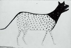 Bill Traylor -Spotted Cat, 1939–42.  Gouache and pencil on cardboard.  The Metropolitan Museum of Art.