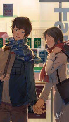 Kimi no Na wa. (Your Name. Manga Anime, Art Anime, Fanarts Anime, Anime Love Couple, Cute Anime Couples, Mitsuha And Taki, Kimi No Na Wa Wallpaper, The Garden Of Words, Your Name Anime