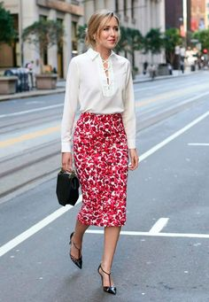 OFFICEWEAR[spring]: floral pencil skirt; white blouse