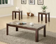 Coaster Furniture - 3 Piece Occasional Table Set w/ Faux Marble Top - 700395