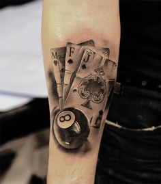 cards and snooker 8 ball tattoo by Miguel Bohigues