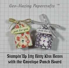 "2015 VIDEO Created by Jeanette Savina Becerra Cobb‎. These teeny tiny little boxes are small enough for one Hershey Kiss. So fun to make and I only used a 3"" X 3"" square of Designer Series Paper and the Envelope Punch Board. What sweet way to deliver a ""Kiss"". www.youtube.com/watch?v=S_l_61mScw8&app=desktop"