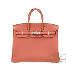 f53f715594 Hermes Birkin Bag 25 Rosy Togo Leather Silver Hardware