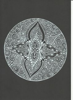 White Ink Mandala Triptych or Trio Wall Art Set by LinaBelieves on Etsy