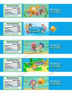 Bubble Guppies Printable Water Bottle Label- Party Printables - Bubble Guppies 5 designs