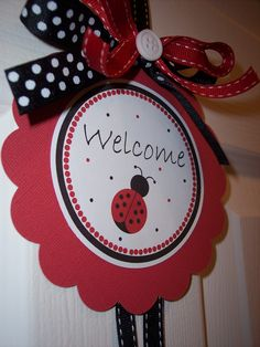 Red Ladybug Birthday Door Sign Ladybug Door Sign by kidEprints