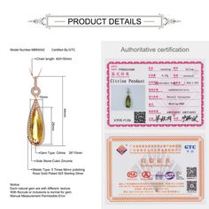 New MoBuy MBNI042 Luxury Natural Gemstone Citrine Teardrop Necklace Pendant 925 Sterling Silver Rose Gold Plated Wedding. Click visit to buy