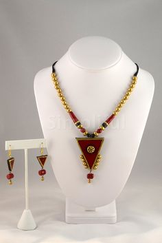 Terracotta Golden Triangles Necklace and Earring Set
