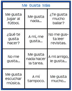 Me Gusta Mas printable Spanish game for practicing gustar and saying what you like and dislike
