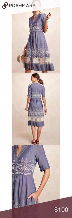 Moulinette Soeurs 4 Embroidered Waters ShirtDress Blogger Fav! NWT Retail $188. Sold out. Price Firm.  Cotton, viscose; polyester lining Button front Side pockets Hand wash Imported Style No. 7130317999730 Measurements according to brand: Bust 35 Waist 27 Hips 37.   #0033 Anthropologie Dresses