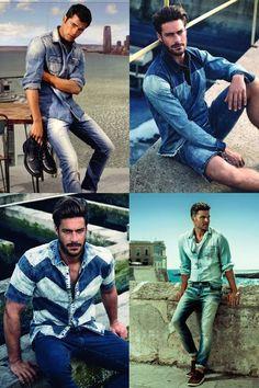 Jeans com jeans. No verão, a tendência segue firme e forte, como no inverno: a combinação de camisa e calça (ou bermuda) em denim. Dá para juntar peças de diversos tons, claros ou escuros. É apenas questão de gosto.