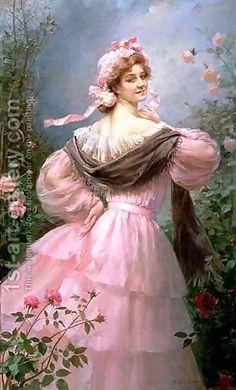 woman in a rose garden