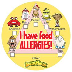 I Have Food Allergies 24 Sticker Pack.Our great range of AllerMates allergy labels are the perfect way to remind teachers, child minders and care givers about your childs allergies.     These bright and stickers are sure to get noticed at home, school, camp, nursery or at parties.     - 2 inches across   - 24 stickers per pack