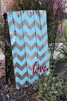 "31 x 16 Reclaimed Barn Wood Chevron Sign that says, ""Love"""