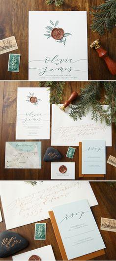 Wax Seal Wedding Invitation by Penn & Paperie. Copper wax seal with earthy wedding design. Unique Wedding Invitation.