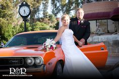 Mr & Mrs | Valencia Country Club | Orange Dodge Charger | Wedding Photography Ideas | Bride & Groom & Car |