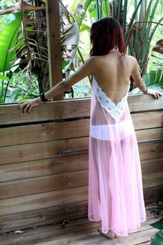 Backless Nightgown Halter Bubblegum Pink Sheer by SarafinaDreams, $80.00