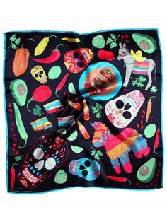 """Karen Mabon's """"Taco Nights Silk Scarf"""""""