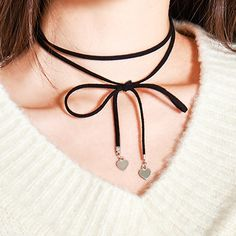 HIDE AND SEEKHeart Accent Ribbon Choker | MIX X MIX | Shop Korean fashion casual…