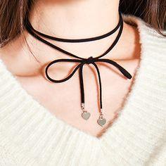 HIDE AND SEEKHeart Accent Ribbon Choker | MIX X MIX | Shop Korean fashion casual…