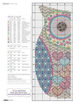 Colorful heart owl, full free cross stitch pattern with DMC labeling - Page 1