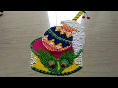 JANMASTAMI special rangoli designs with colours by jyoti Easy Rangoli Designs Videos, Rangoli Designs Latest, Simple Rangoli Designs Images, Rangoli Designs Flower, Rangoli Patterns, Rangoli Ideas, Colorful Rangoli Designs, Rangoli Designs Diwali, Diwali Rangoli