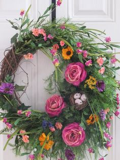 Spring Door Wreath Wildflower Wreath Country Wreath Country
