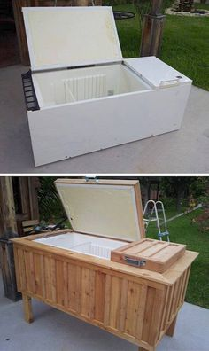20 Unusual Furniture Hacks | Old fridge turned into an oudoor ice chest.