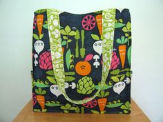 Farmer's Market Tote Carry All Bag Beach Bag with Garden Vegetables on a Navy Background - Kitchy Kitchen Fabric
