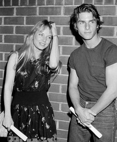 """Tom Cruise and Rebecca De Mornay on the set of the 1983 film """"Risky Business"""""""