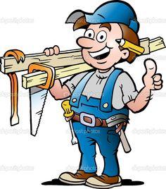 Hand-drawn Vector illustration of an Happy Carpenter Handyman - Stock ...