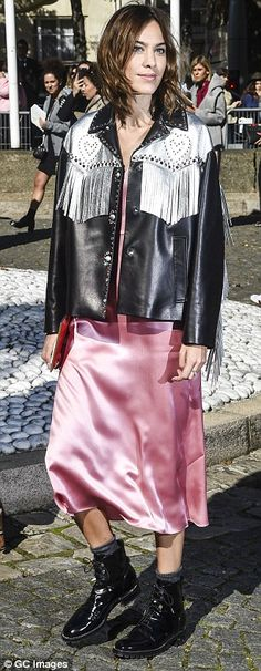 Night-time chic: Alexa went for an equally super chic fresh-from-bed look, teaming a pink chifon nightie-inspired maxi dress with a black and silver fringed leather jacket Alexa Chung Street Style, Street Style Looks, Dedicated Follower Of Fashion, Trendy Fashion, Fashion Outfits, Metallic Jacket, Fringe Jacket, Fashion Editor, Miu Miu